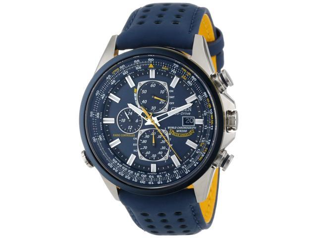 Citizen Eco Drive Blue Angels World Chronograph Blue Leather Men's Watch AT8020-03L