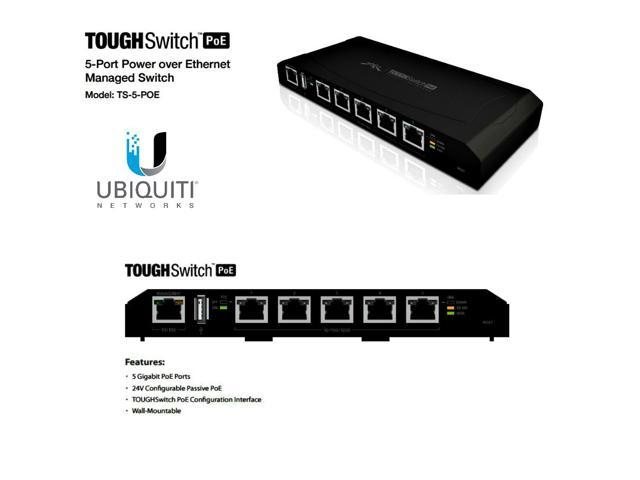 Ubiquiti TS-5-POE 5-Port TOUGHSwitch PoE Gigabit Switch 24V 60W up to 5 devices