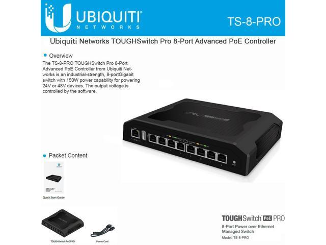 Ubiquiti TS-8-PRO 8-Port TOUGHSwitch PoE PRO Gigabit Switch 150W Power 8 devices