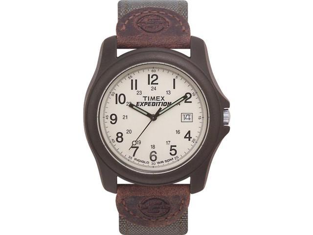 Timex Men's T49101 Brown Leather Quartz Watch with White Dial