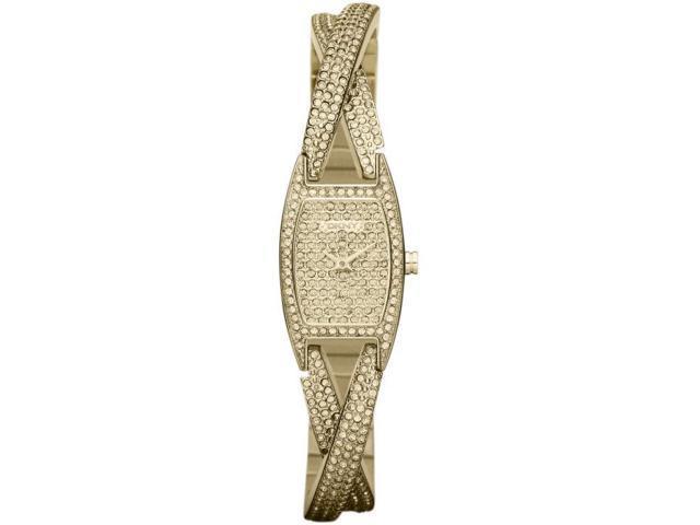 Women's Gold Tone DKNY Glitz Crossover Bangle Watch NY8682