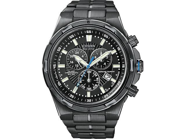 Citizen Perpetual Eco Drive Black Steel Chronograph Mens Watch BL5435-58E