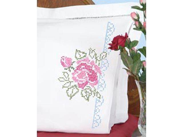 Stamped Pillowcases With White Perle Edge 2/Pkg-XX Roses