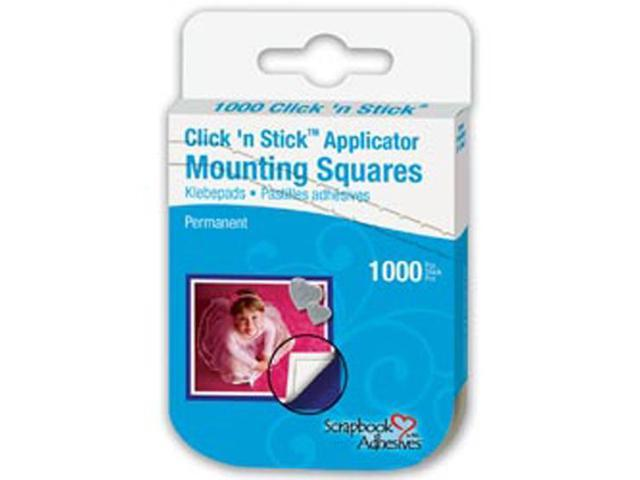 Click 'n Stick Permanent Mounting Squares 1000/Pkg-White .5