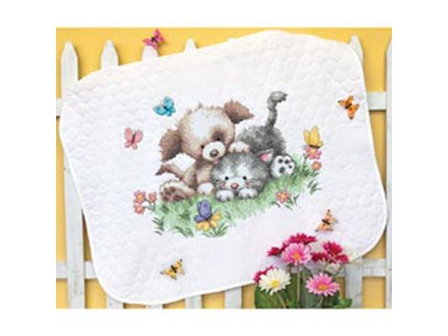 Pet Friends Baby Quilt Stamped Cross Stitch Kit-43