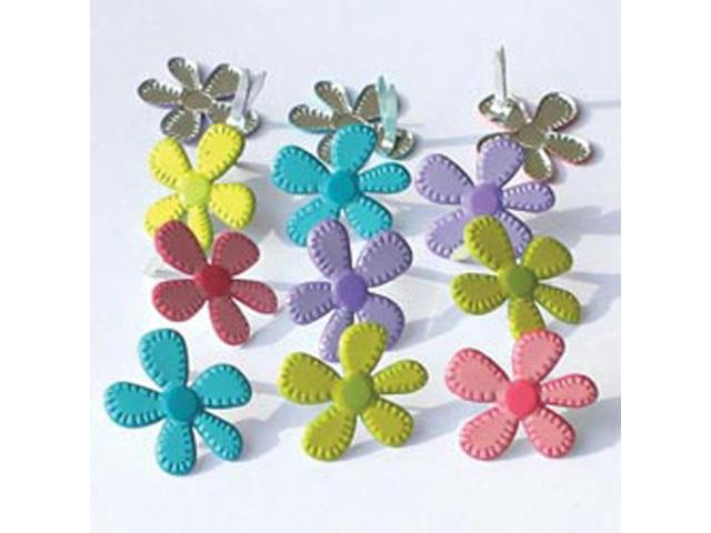 Eyelet Outlet Brads-Stitched Bright Flowers 12/Pkg