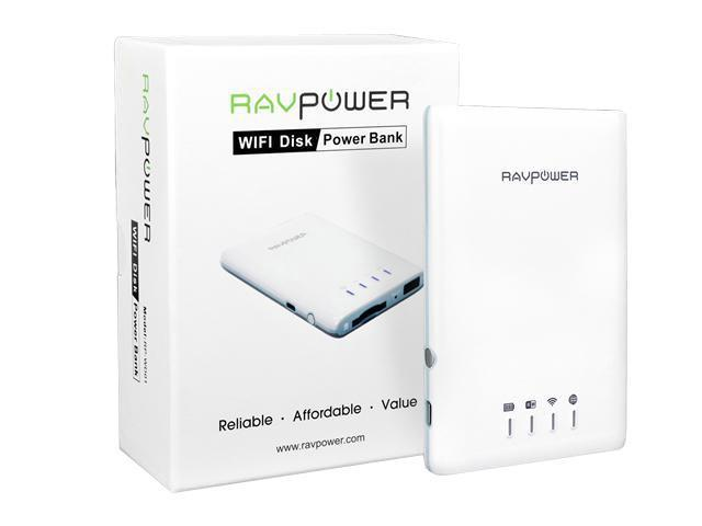 RAVPower  External Wireless Mobile File Transfer WiFi Disk & 3000mAh Power Bank for Tablet PC & Smartphones