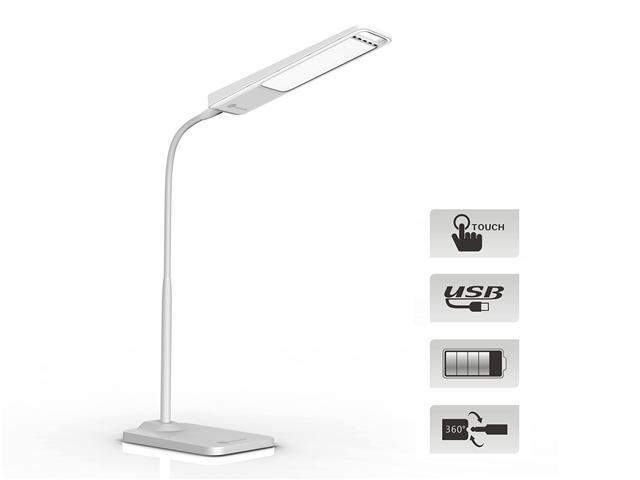 TaoTronics® Elune TT-DL04 Marble White Gooseneck 6W LED Work Desk Lamp / Detachable Emergency Outdoor Light (Cool White, 3-level Dimmable, Touch Sensitive Button, 5V/0.5A USB Port, Up to 8 hr Runtime)