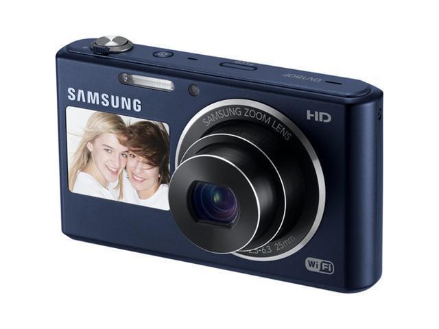 SAMSUNG DualView DV150F EC-DV150FBPBUS Cobalt Black 16.2MP Digital Camera HDTV Output