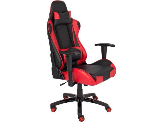 best choice products racing leather gaming office chair backrest and height adjustable red
