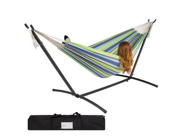 Double Hammock With Space Saving Steel Stand Includes Portable Carrying Case - Double Hammock With Space Saving Steel Stand Includes Portable