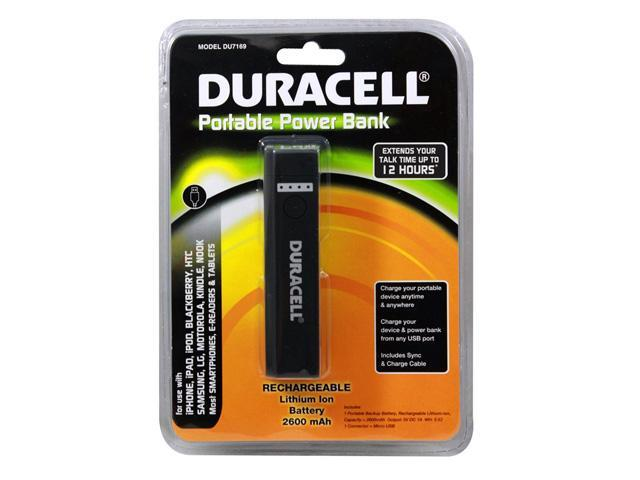 DURACELL Portable Power Bank & AC Charger (2600 mAh) Battery Charger for use with iPhone, iPad, iPod, BlackBerry, Samsung, ...