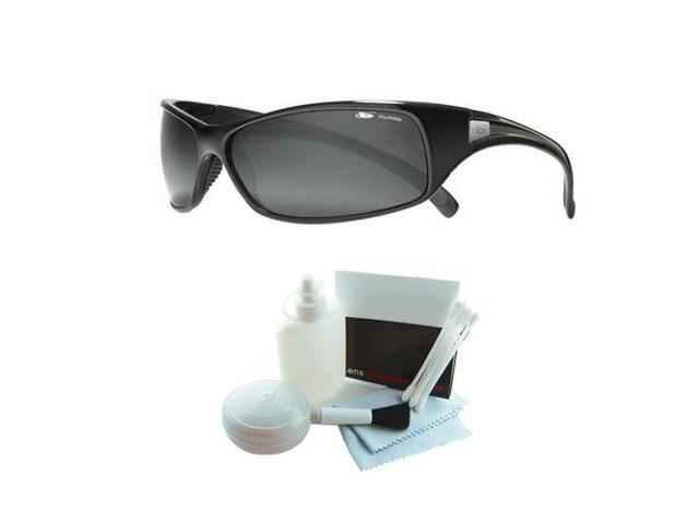 Bolle 10405 Recoil Polarized Shiny Black Sunglasses w/ Deluxe Cleaning Kit