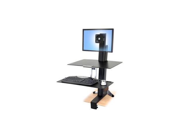 Ergotron 33-350-200 WorkFit-S Sit-Stand Workstation for Single LCD Monitor, LD, w/ Worksurface & Large Keyboard Tray
