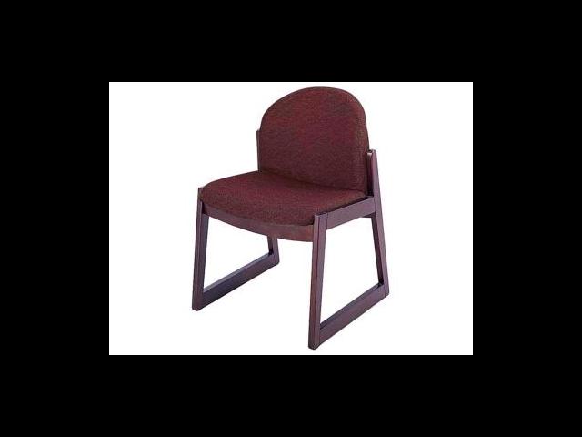 Safco Urbane Armless Guest Chair Polyester Burgundy, Olefin Seat - Wood Medium Oak Frame