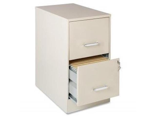 "Lorell 22"" Deep 2-Drawer SOHO - Locking Drawer, Pull Handle, Glide Suspension - Stone, Chrome"