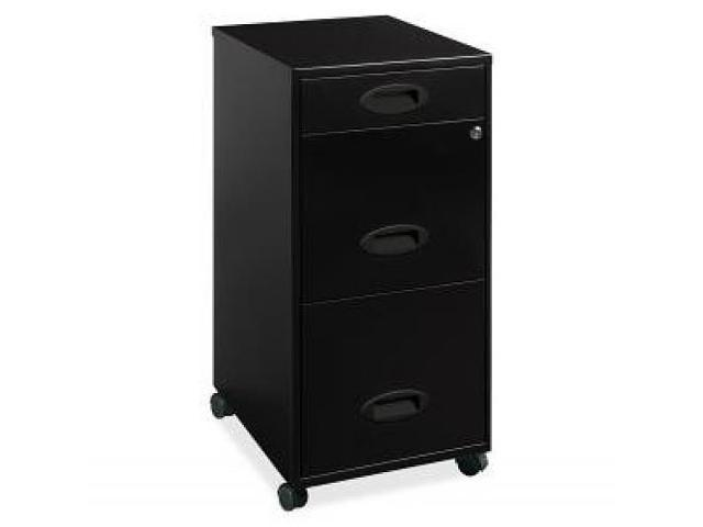 "Lorell 18"" Deep 3-Drawer Organizer w/casters - Letter - Locking Drawer, Glide Suspension - Black"