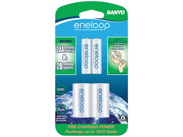 "Eneloop SEC-NCSD2AAN Batteries with ""D"" Spacer"