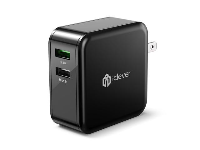 iClever BoostCube+ 36W Dual USB Wall Charger with Qualcomm 3.0 and SmartID Tech for iPhone and More