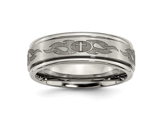 Titanium Ridged Edge 8mm Brushed and Polished Engravable Band