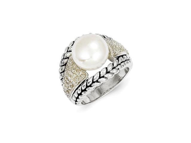 Sterling Silver 1.15mm Freshwater Cultured Pearl 1/10ct Diamond Vintage Ring (Color H-I, Clarity SI2-I1)