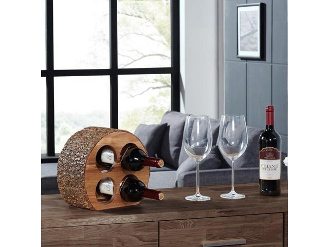 Danya B Round Four Bottle Wine Holder - Acacia Wood with Bark - WS16228