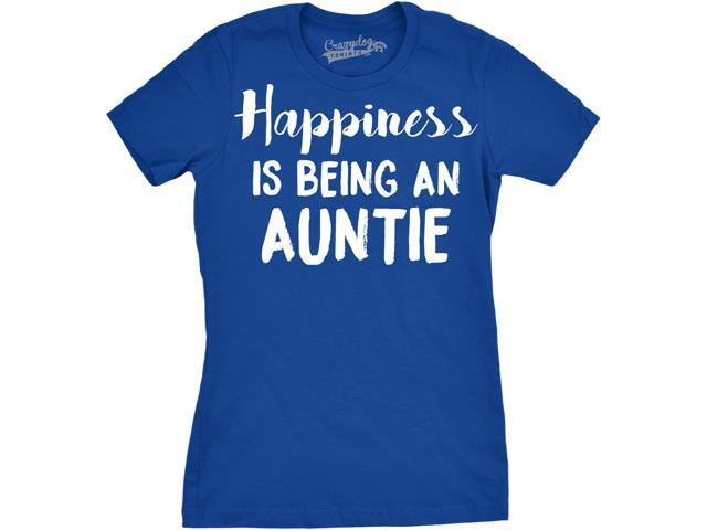 Womens Happiness Is Being an Auntie Funny Family Relationship T shirt (Blue) M