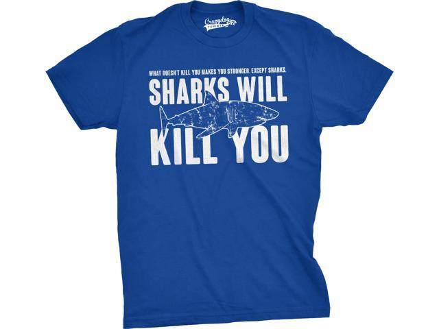 Mens Sharks Will Kill You Funny T Shirt Sarcasm Novelty Offensive Tee For Guys (Blue) - 4XL