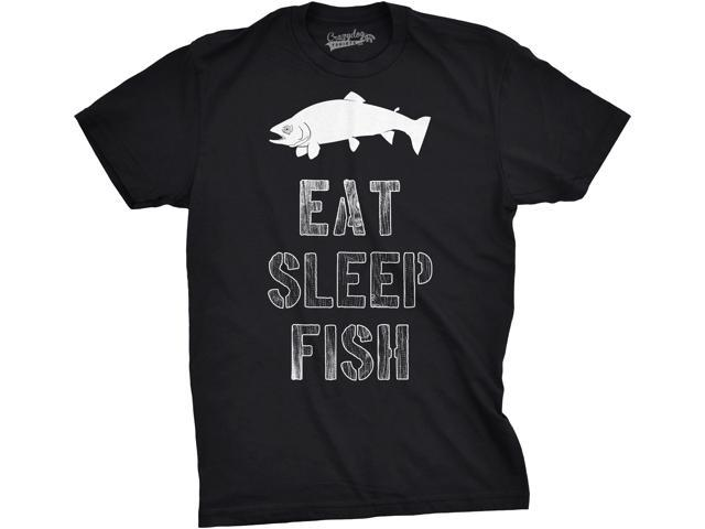 Mens Eat Sleep Fish T Shirt Funny Vintage Fishing Outdoors Tee (Black) XXL