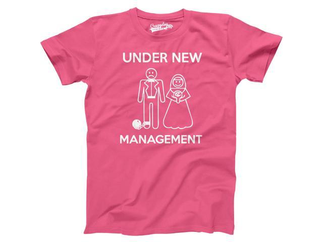 Mens Under New Management Funny Wedding Bachelor Party Novelty Tee For Guys (Pink) - 5XL