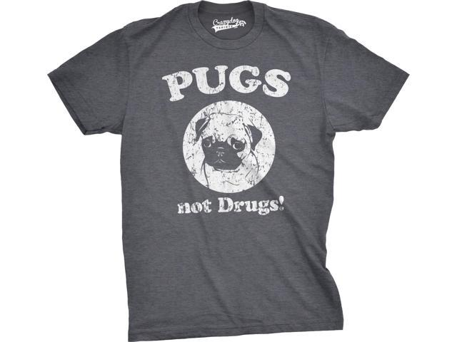 Mens Pugs Not Drugs T shirt Pug Face Funny T shirts Dogs Humor Novelty Tees (Grey) -3XL