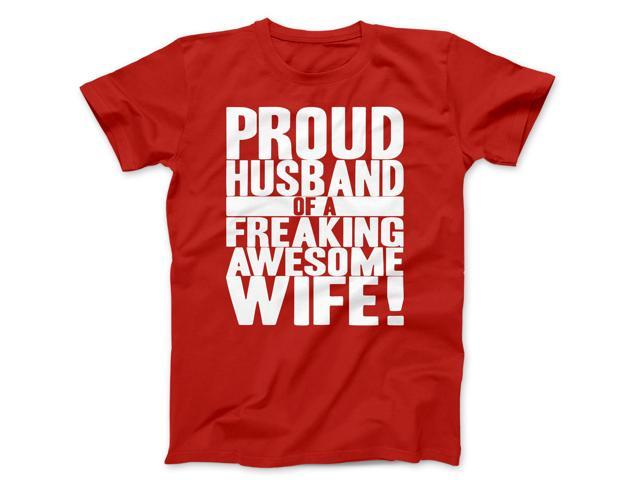 Mens Proud Husband of a Freaking Awesome Wife Funny Marriage T shirt (Red) S