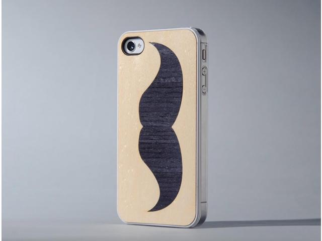CARVED - Handlebar Mustache Inlay - Wood iPhone 4 Clear Case
