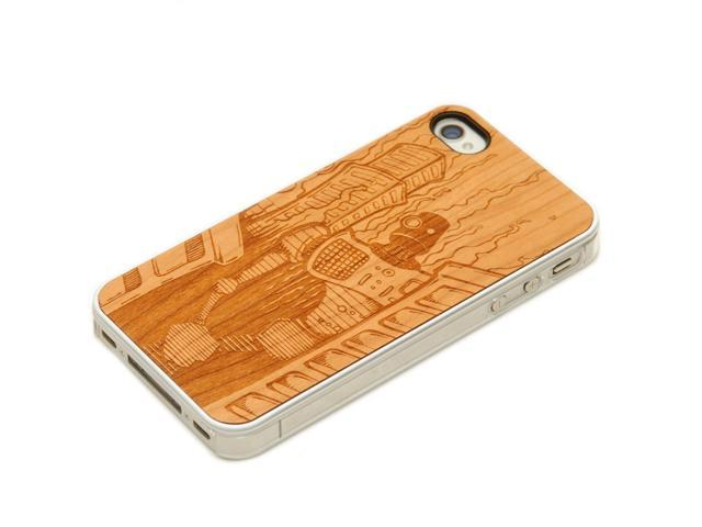 CARVED - Robot Doom - Cherry Wood iPhone 4/4S Clear Case
