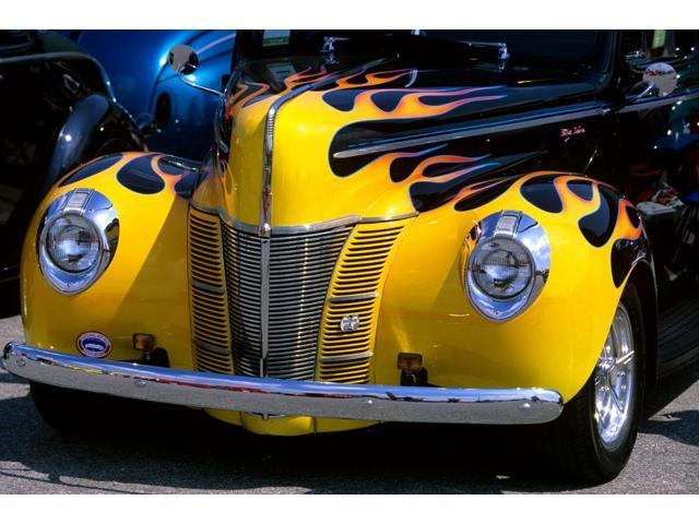 Vintage Automobile Front Center With One Headlight : Ford flame job painted hot rod automobile hood