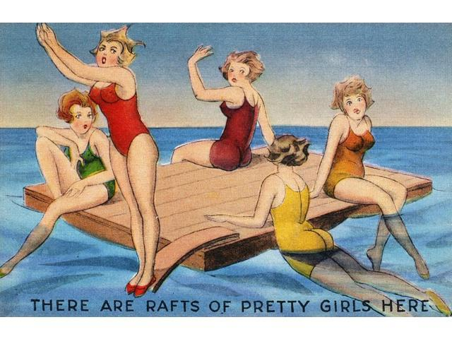 American Postcard C1950 NThere Are Rafts Of Pretty Girls Here Poster Print by  (18 x 24)