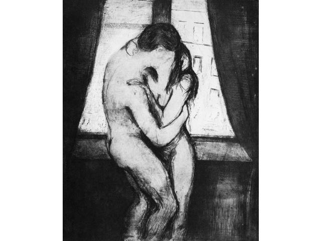 Munch The Kiss 1895 Ndrypoint And Aquatint By Edvard Munch Poster Print by  (18 x 24)