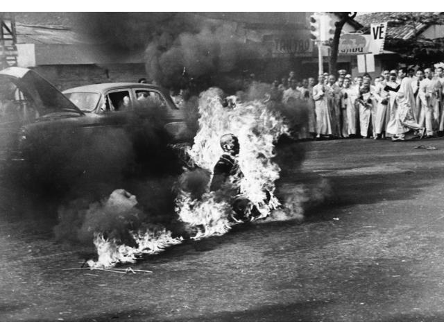 Buddhist Crisis 1963 Nbuddhist Monk Thich Quang Duc (1897-1963) Committing Self-Immolation At An Intersection In Saigon South Vietnam In Protest Against The Repressive Measures Of President Ngo Dinh D