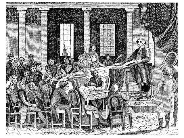 Constitutional Convention Ngeorge Washington Presiding At The Constitutional Convention At Philadelphia In 1787 Line Engraving American 1823 Poster Print by  (18 x 24)