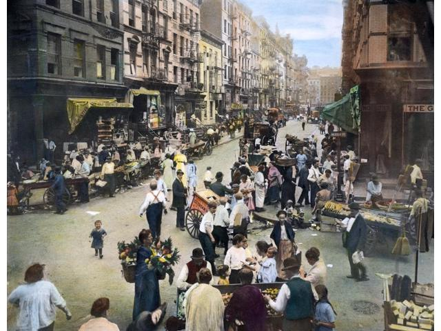 Lower East Side C1905 Nthe Intersection Of Orchard And Hester Streets On The Lower East Side In New York City Oil Over A Photograph C1905 Poster Print by  (18 x 24)