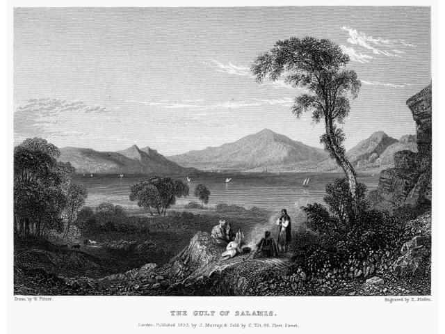Greece Gulf Of Salamis Nview Of The Gulf Of Salamis In Greece On The Aegean Sea Steel Engraving English 1833 By Edward Finden After William Purser Poster Print by  (18 x 24)