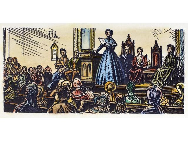 Seneca Falls Meeting 1848 Nelizabeth Cady Stanton Addressing The First WomenS Rights Meeting At Seneca Falls New York On 20 June 1848 Illustration Early 20Th Century Poster Print by  (18 x 24)