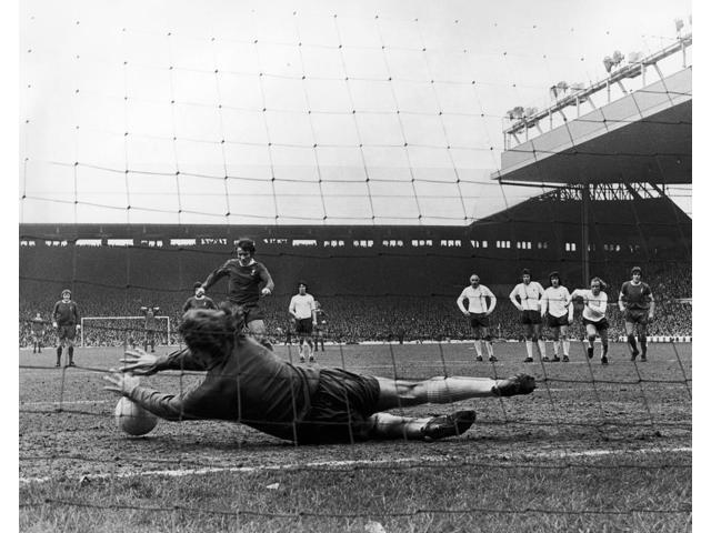 England Soccer Game 1973 Npat Jennings Of Tottenham Hotspur Blocks A Penalty Kick By Tommy Smith Of Liverpool During A Soccer Game 31 March 1973 Poster Print by  (18 x 24)