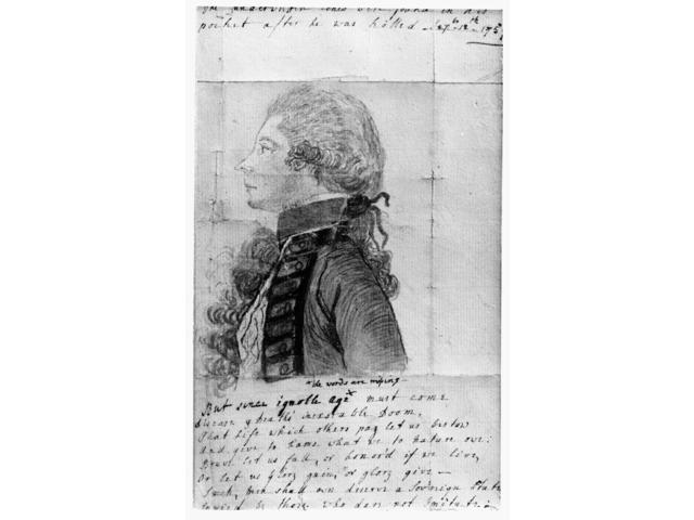 James Wolfe (1727-1759)Nbritish Army Officer Facsimile Tracing Done By Elisabeth Duchess Of Devonshire Of A Sketch Taken At Quebec By Captain Harvey Smith Shortly By WolfeS Death Late 18Th Century Pos