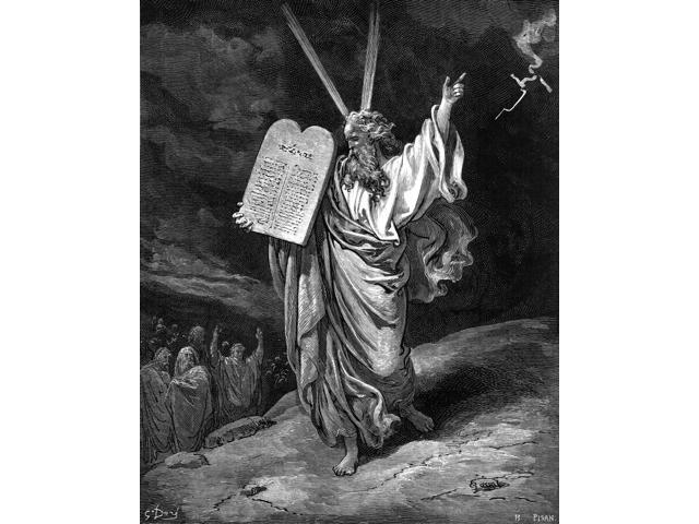 Moses Descending Mt Sinai N(Exodus 32 1516) Wood Engraving After Gustave Dor Poster Print by  (18 x 24)