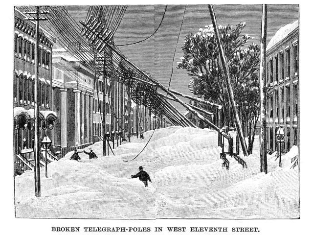 New York Blizzard Of 1888 Nbroken Telegraph Poles On West 11Th Street In Manhattan Wood Emgraving From A Contemporary American Newspaper Article About The Blizzard Of 12-14 March 1888 Poster Print by