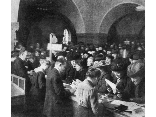 German War Bonds 1915 Ngerman Civilians Purchasing War Bonds At The Municipal Savings Bank In Charlottenburg Germany Photograph 1915 Poster Print by  (18 x 24)