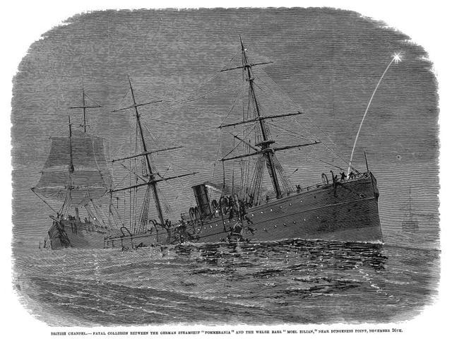 Steamships Collision 1878 Nfatal Collision Between The German Steamship Pommerania And The Welsh Bark Moel Eilian Near Dungeness Point In The British Channel 26 November 1878 Contemporary Wood Engravi