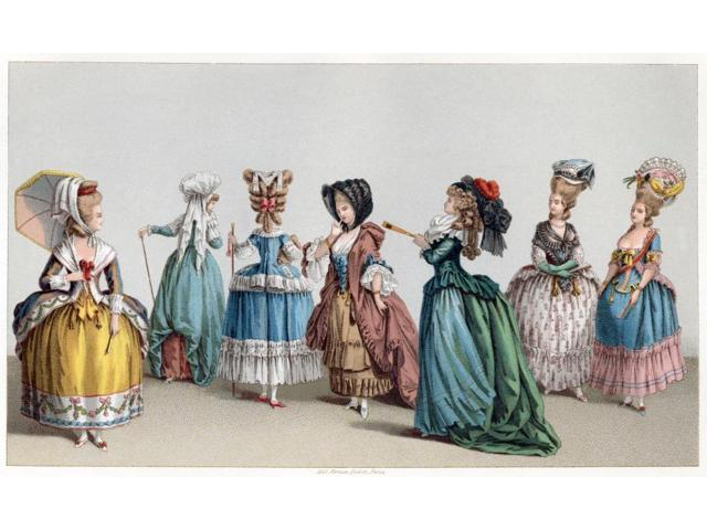 France Fashion C1730 NwomenS Fashions In France C1730 Chromolithograph C1875 Poster Print by  (18 x 24)