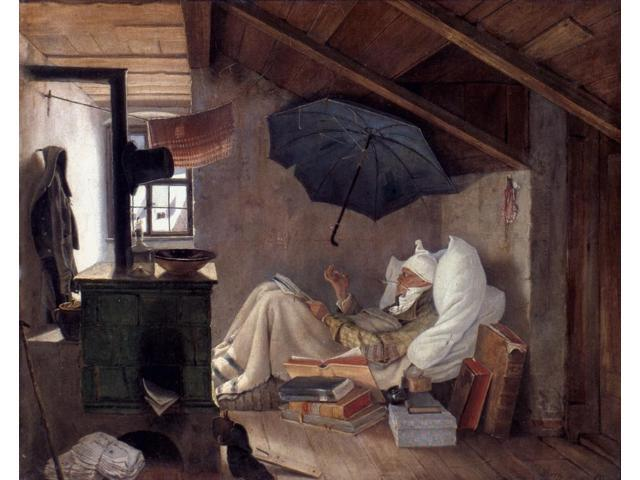 Spitzweg Poor Poet 1839 NThe Poor Poet Oil On Canvas By Carl Spitzweg 1839 Poster Print by  (18 x 24)